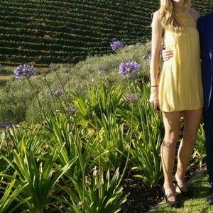 BCBG yellow silk halter dress size 2